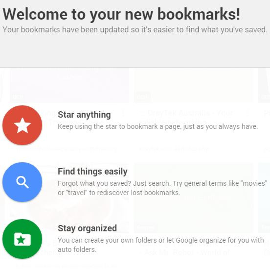 Chrome Welcome to Bookmarks Manager